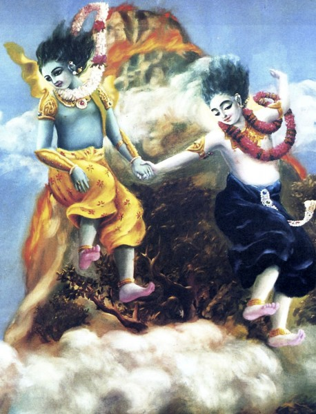 Krishna and Balaram Jump from the Top of a Mountain