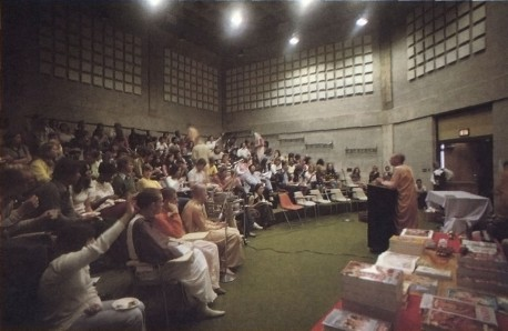Hare Krishna preaching program at UK college / university, 1973