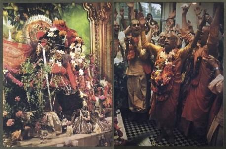 Srila Prabhupada and his disciples dance and chant Hare Krishna in front of Radha-Krishna Deities.