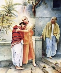 Lord Caitanya embraced Sanatana in the courtyard of Candrasekhara's house.