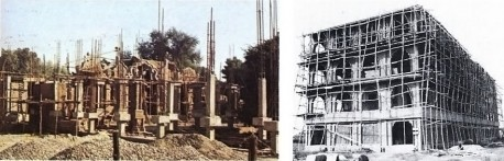 Construction at ISKCON Mayapur, India, 1973.