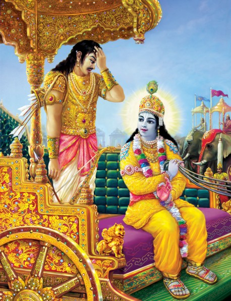 The warrior Arjuna, confused about his duty, accepted Lord Krishna as his spiritual master.