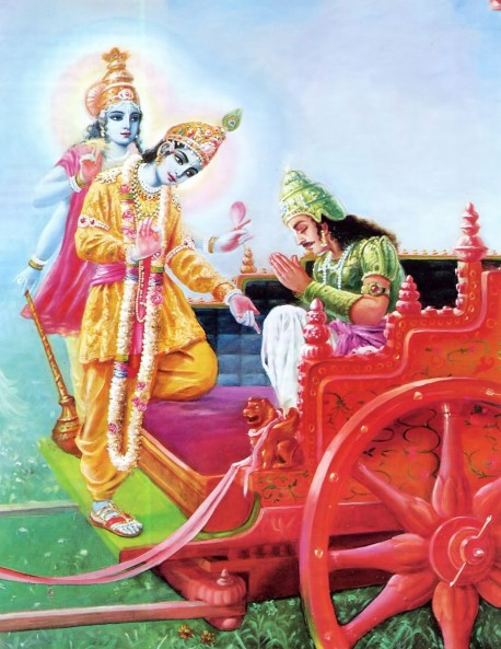 Lord Krishna while speaking the Bhagavad Gita to Arjuna reveals His four-armed form and then His two-armed form.