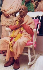Srila Prabhupada sitting on rocking chair at ISKCON New York City