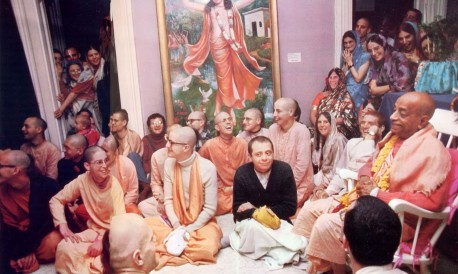 Srila Prabhupada and ISKCON New York City Temple Devotees, 1974.
