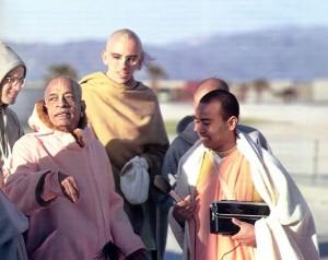 Srila Prabhupada on morning walk 1973 Venice Beach Los Angeles CA