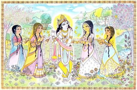 Krishna, Radharani and the Gopis in Vrindavan