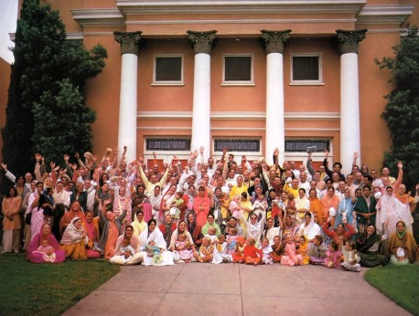 ISKCON Devotees outside the Los Angeles Hare Krishna Temple, 1974.