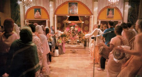 Morning Program (Mangal Aroti) at Los Angeles Hare Krishna Temple (New Dwarka) 1974.
