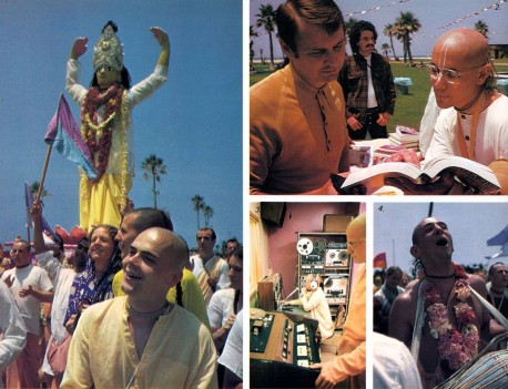 Devotees preaching at Los Angeles Hare Krishna Temple (New Dwarka) 1974.