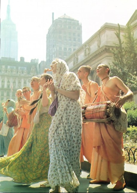 Hare Krishna Devotees Chant on Fifth Avenue New York City