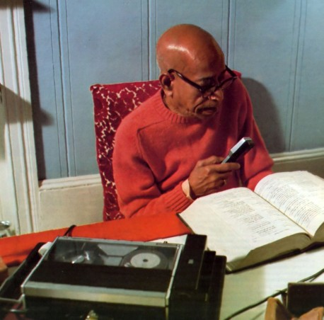 Prabhupada writing his Hare Krishna books by dictating Srimad Bhagavatam