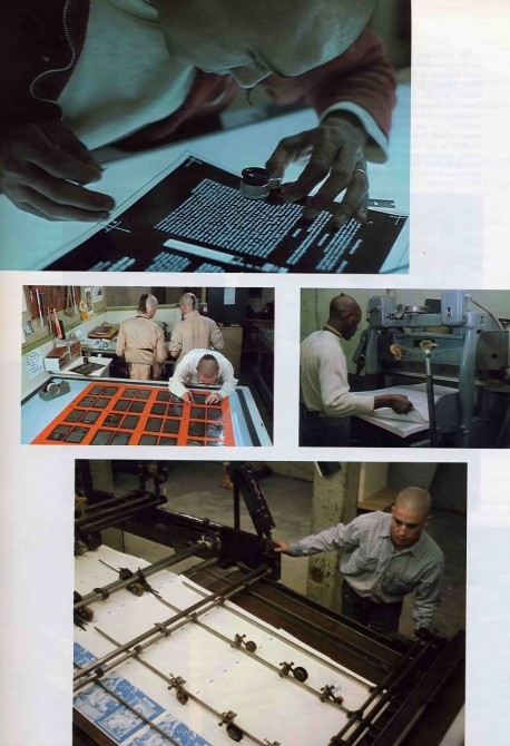 Hare Krishna devotees print Srila Prabhupada's books at ISKCON Press, Los Angeles, 1974.