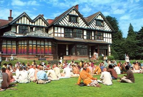 Hare Krishna Devotees outside Bhaktivedanta Manor, Lechmore Heath, Watford, UK - 1974
