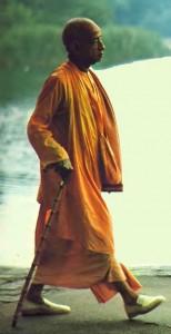 Srila Prabhupada walking on beach