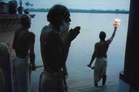 Arati at Kesi-ghata, a bathing place on the River Yamuna, Vrindavan, Mathura, India, 1974.
