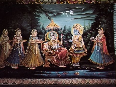 This painting from a temple in Seva-kunja depicts Lord Krishna and His eternal consort, Srimati Radharani, with Their loving attendants, the gopls. Vrindavan, India, 1974.