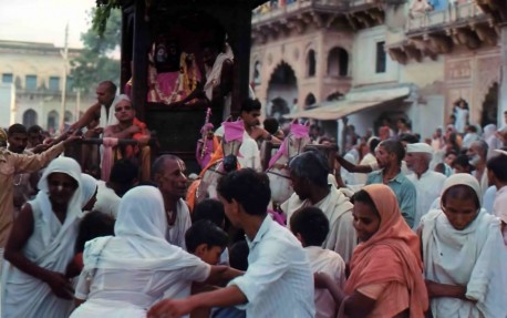The residents of Vrindavan celebrate a festival in honor of Lord Krishna. India. 1974.