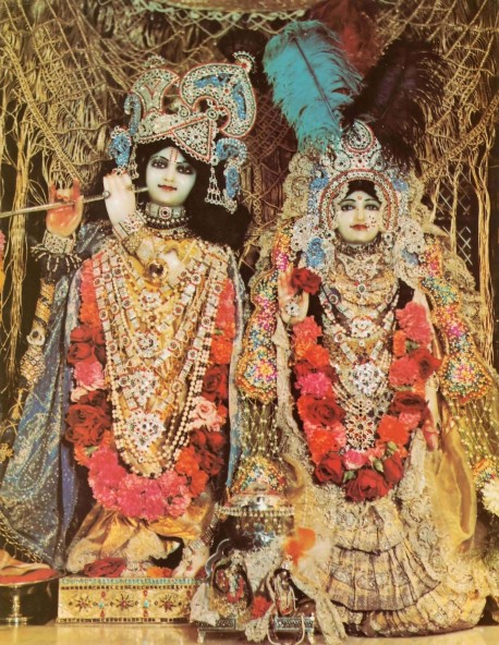 Sri Sri Radha Vrindavan Candra. Deities at ISKCON New Vrindavan. 1974.
