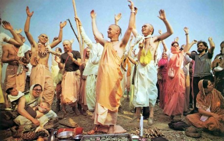 Devotees at ISKCON New Vrindavan chanting Hare Krishna. 1974.