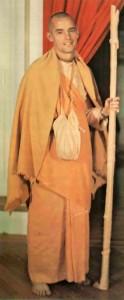 Kirtanananda Swami with Sannyasa Danda  at New Vrindavan 1974.