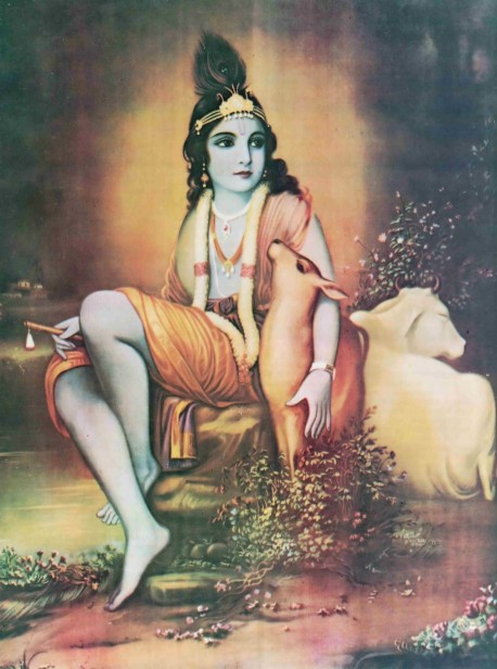Lord Sri Krishna with arm around a deer and cow nearby.