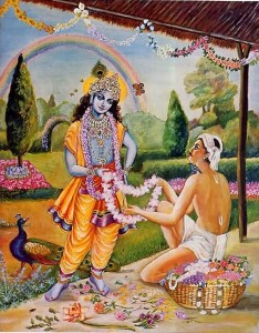 Krishna receives garland from florist.