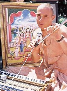 Visnujana Swami on Radha Damodara Traveling Sankirtan Party. ISKCON USA 1974.