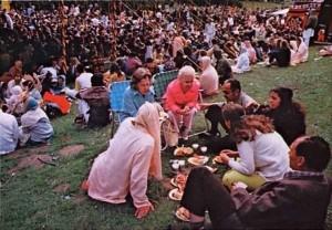 ISKCON devotees distribute prasadam San Francisco's annual Rathayatra Festival 1973.