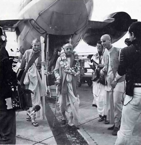 Srila Prabhupada alights from Airplane - 1974