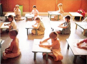 Gurukul students in class. ISKCON Dallas Texas 1975