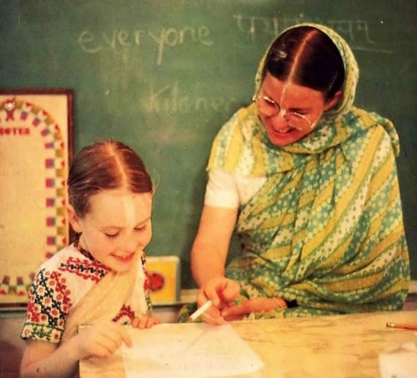 Ideal teacher, ideal student. The teachers at Gurukula teach by example as well as precept. ISKCON Gurukul Dallas Texas 1975.