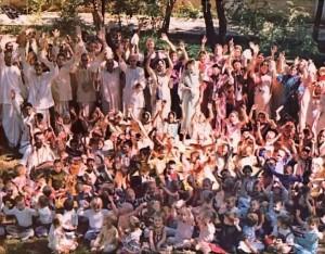 Students and their teachers at ISKCON Dallas Gurukula 1975.