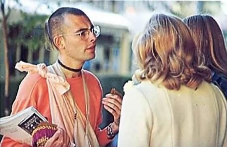 Hare Krishna Devotee distributing Srila Prabhupada's Books, 1975.