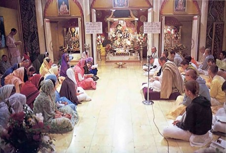 A morning philosophy class at the ISKCON temple in Los Angeles. 1975.