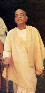 Srila Prabhupada with walking stick on morning walk. 1975.