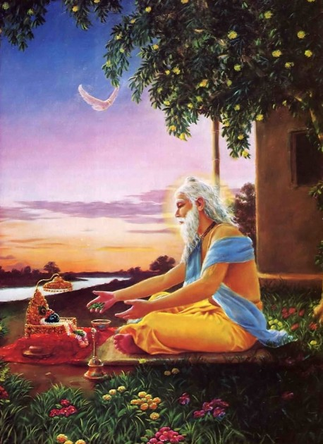 With offerings of sacred tulasi leaves and Ganges water, Advaita Acarya prayed for Lord Caitanya to descend.