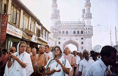 Sankirtana -- ISKCON Devotees Chant Hare Krishna in India. 1975.
