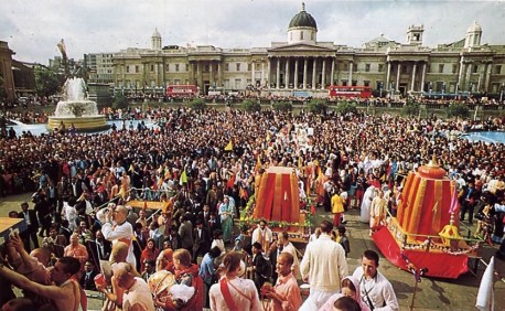 Sarikirtana at ISKCON's annual Ratha-yatra Festival in London. 1975.