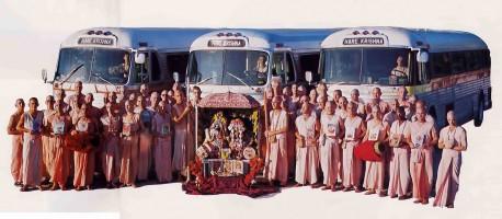 Radha Damodar Traveling Sankirtan Party Busses and book distributors. 1975.