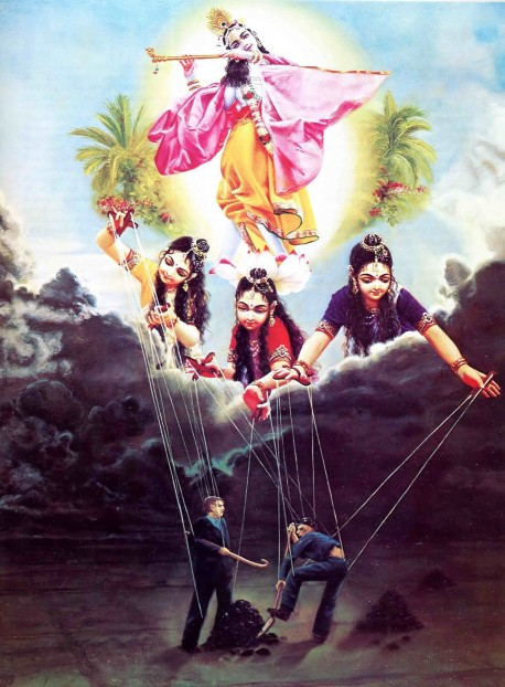 All living beings in the material world are controlled like puppets by the three modes of nature.