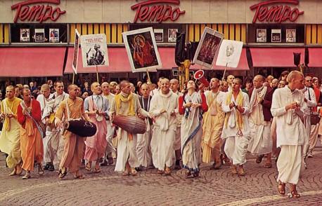 Hare Krishna Devotees Chanting Hare Krishna in Stockholm, Sweden 1975.