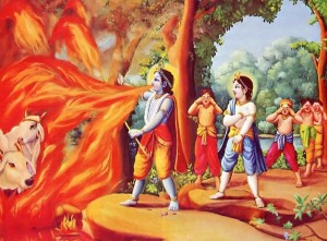 Krishna is protecting His devotees from the devouring flames of a forest fire.