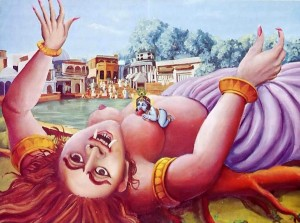 Lord Krishna is pictured sticking out the life of the demonic witch Putana