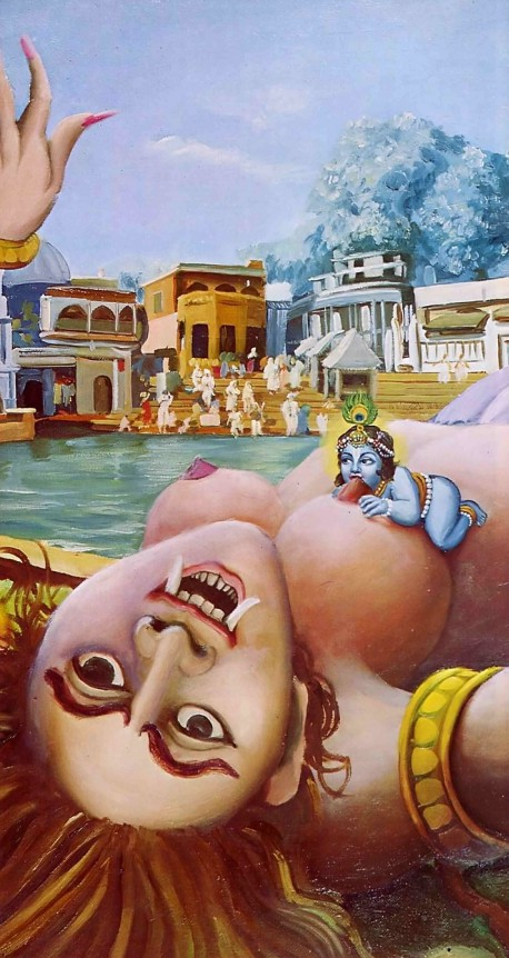 Krishna kills the Putana demon / witch in Vrindavan