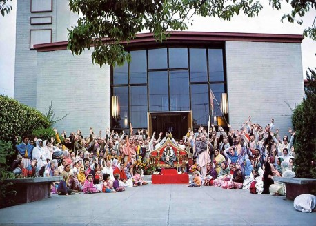 ISKCON devotees outside Berkley California Temple, 1975