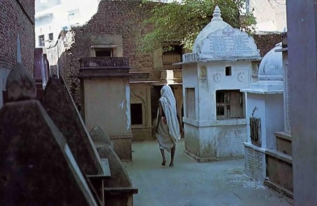 Samadhi Tombs of Great Vaisnavas in Radha Damodar Courtyard. Vrindavan, 1975.