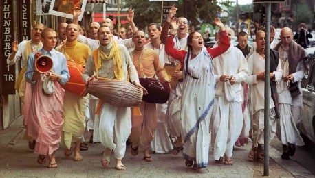 ISKCON Street Sankirtan (chanting Hare Krishna) in Stockholm. 1975.