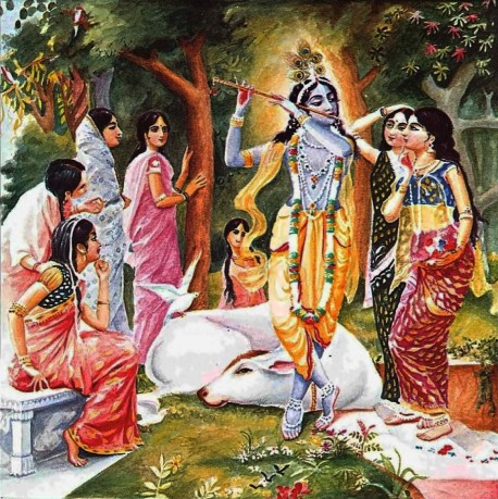 The Gopis Enchanted by Krishna's Flute