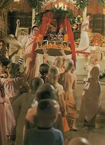 ISKCON Gurukul Students push Radha-Krishna on a swing in Hare Krishna Temple Function. 1975.